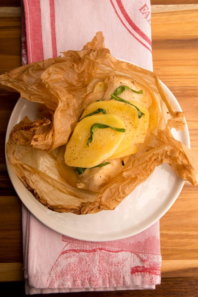Chicken papillote with mustard