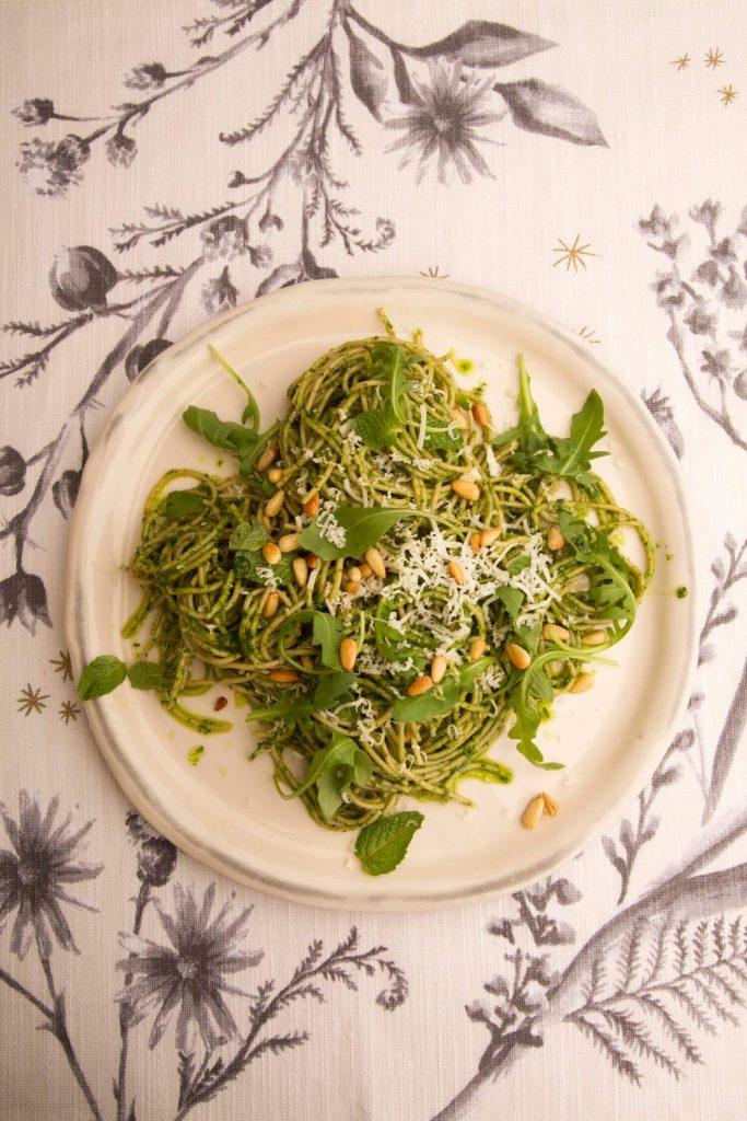 Arugula pesto spaghettini