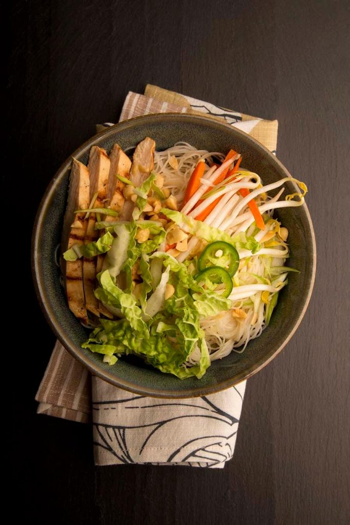 vietnamese style noodle salad with grilled chicken
