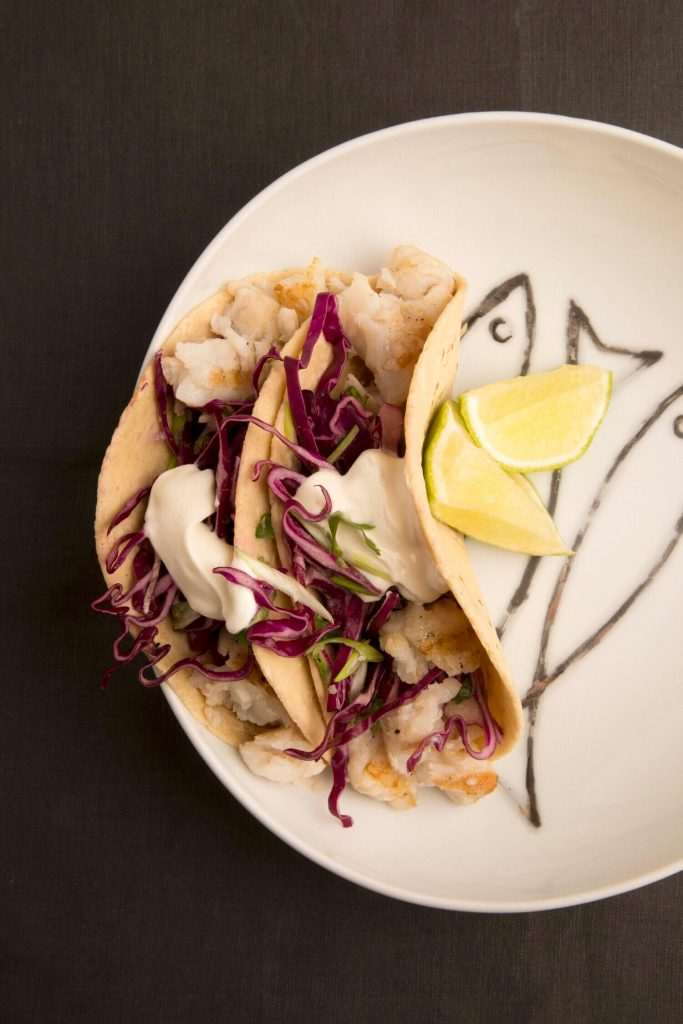 Fish tacos with red cabbage slaw