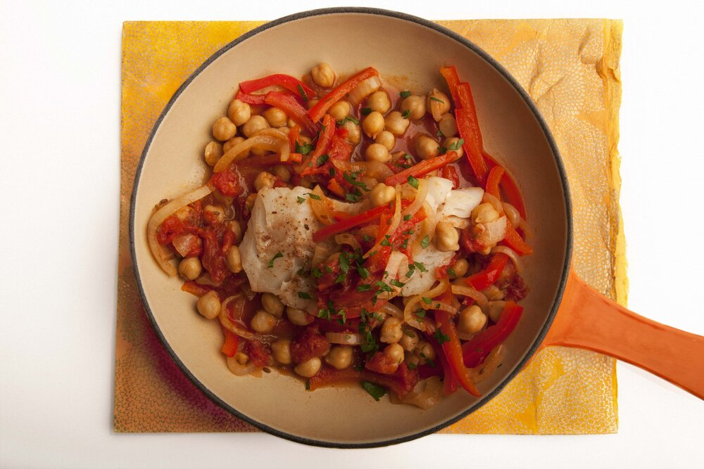 Spanish Style Cod WithChickpeas and Peppers