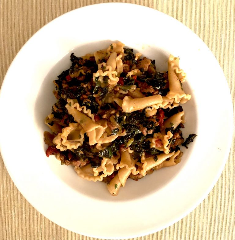 Pasta with Greens and Pine Nuts